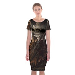 Fractalius Abstract Forests Fractal Fractals Classic Short Sleeve Midi Dress