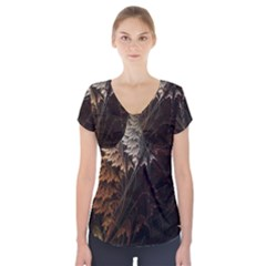 Fractalius Abstract Forests Fractal Fractals Short Sleeve Front Detail Top