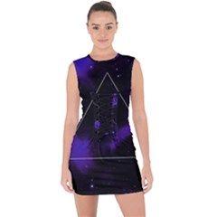 Space Lace Up Front Bodycon Dress