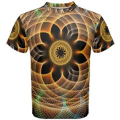 Mixed Chaos Flower Colorful Fractal Men s Cotton Tee