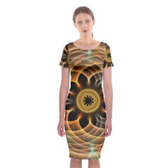 Mixed Chaos Flower Colorful Fractal Classic Short Sleeve Midi Dress