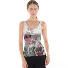 Shabby Chic Style Floral Photo Tank Top