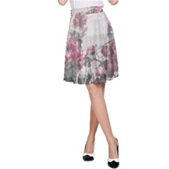 Shabby Chic Style Floral Photo A Line Skirt