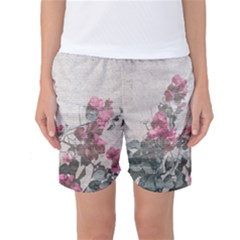 Shabby Chic Style Floral Photo Women s Basketball Shorts