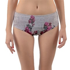 Shabby Chic Style Floral Photo Reversible Mid Waist Bikini Bottoms