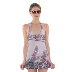 Shabby Chic Style Floral Photo Halter Swimsuit Dress