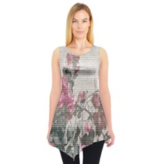 Shabby Chic Style Floral Photo Sleeveless Tunic