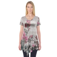 Shabby Chic Style Floral Photo Short Sleeve Tunic