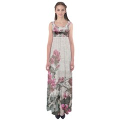 Shabby Chic Style Floral Photo Empire Waist Maxi Dress