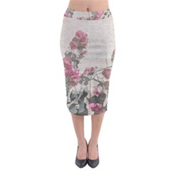 Shabby Chic Style Floral Photo Midi Pencil Skirt
