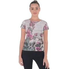 Shabby Chic Style Floral Photo Short Sleeve Sports Top