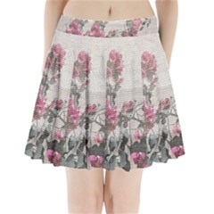 Shabby Chic Style Floral Photo Pleated Mini Skirt