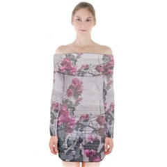 Shabby Chic Style Floral Photo Long Sleeve Off Shoulder Dress