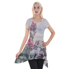 Shabby Chic Style Floral Photo Short Sleeve Side Drop Tunic