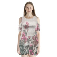 Shabby Chic Style Floral Photo Shoulder Cutout Velvet  One Piece