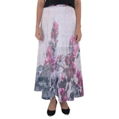 Shabby Chic Style Floral Photo Flared Maxi Skirt