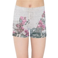 Shabby Chic Style Floral Photo Kids Sports Shorts