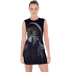 Gangsta Cat Lace Up Front Bodycon Dress