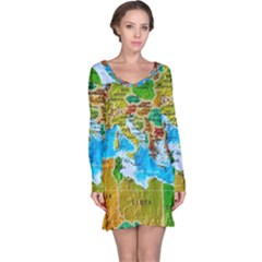 World Map Long Sleeve Nightdress