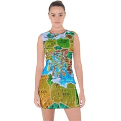 World Map Lace Up Front Bodycon Dress