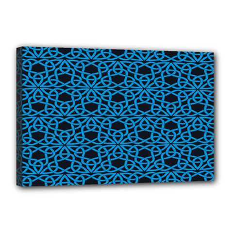 Triangle Knot Blue And Black Fabric Canvas 18  X 12