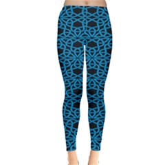 Triangle Knot Blue And Black Fabric Leggings