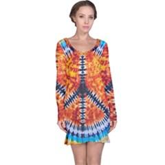 Tie Dye Peace Sign Long Sleeve Nightdress