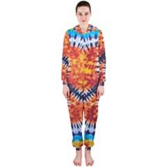 Tie Dye Peace Sign Hooded Jumpsuit (ladies)