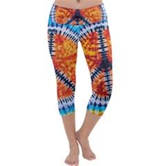 Tie Dye Peace Sign Capri Yoga Leggings