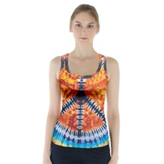 Tie Dye Peace Sign Racer Back Sports Top