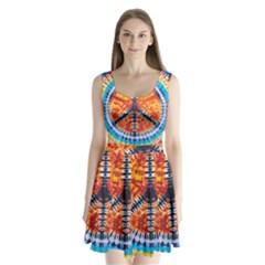 Tie Dye Peace Sign Split Back Mini Dress