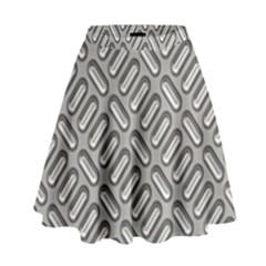 Grey Diamond Metal Texture High Waist Skirt