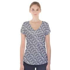 Grey Diamond Metal Texture Short Sleeve Front Detail Top