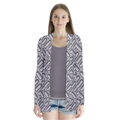 Grey Diamond Metal Texture Drape Collar Cardigan