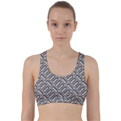 Grey Diamond Metal Texture Back Weave Sports Bra
