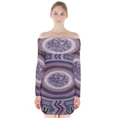 Spirit Of The Child Australian Aboriginal Art Long Sleeve Off Shoulder Dress