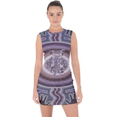 Spirit Of The Child Australian Aboriginal Art Lace Up Front Bodycon Dress