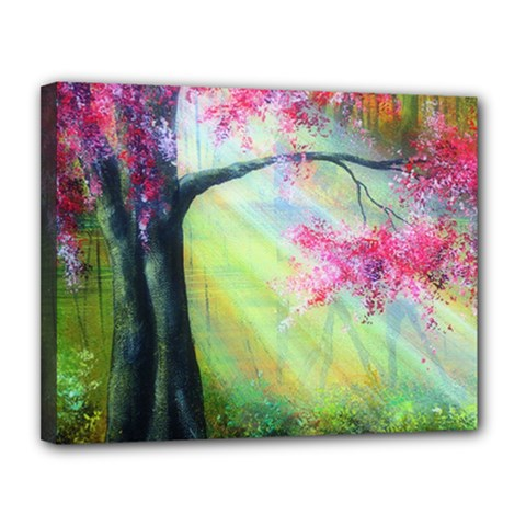 Forests Stunning Glimmer Paintings Sunlight Blooms Plants Love Seasons Traditional Art Flowers Sunsh Canvas 14  X 11