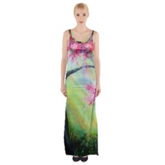 Forests Stunning Glimmer Paintings Sunlight Blooms Plants Love Seasons Traditional Art Flowers Sunsh Maxi Thigh Split Dress