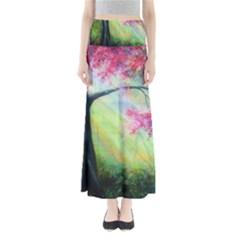 Forests Stunning Glimmer Paintings Sunlight Blooms Plants Love Seasons Traditional Art Flowers Sunsh Full Length Maxi Skirt