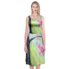 Forests Stunning Glimmer Paintings Sunlight Blooms Plants Love Seasons Traditional Art Flowers Sunsh Midi Sleeveless Dress