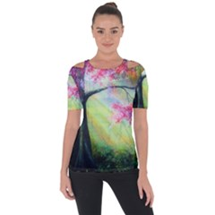 Forests Stunning Glimmer Paintings Sunlight Blooms Plants Love Seasons Traditional Art Flowers Sunsh Short Sleeve Top
