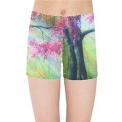 Forests Stunning Glimmer Paintings Sunlight Blooms Plants Love Seasons Traditional Art Flowers Sunsh Kids Sports Shorts