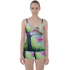 Forests Stunning Glimmer Paintings Sunlight Blooms Plants Love Seasons Traditional Art Flowers Sunsh Tie Front Two Piece Tankini