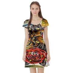 Flower Art Traditional Short Sleeve Skater Dress