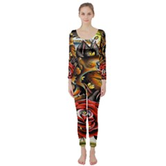 Flower Art Traditional Long Sleeve Catsuit
