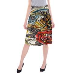 Flower Art Traditional Midi Beach Skirt