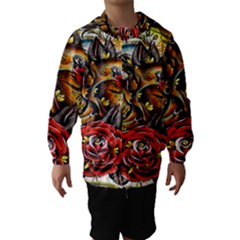 Flower Art Traditional Hooded Wind Breaker (kids)