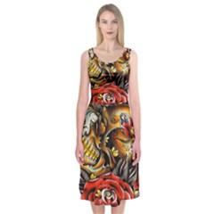 Flower Art Traditional Midi Sleeveless Dress