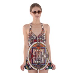 Colorful Mandala Halter Swimsuit Dress